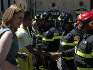 Emergency service staff in L'Aquila